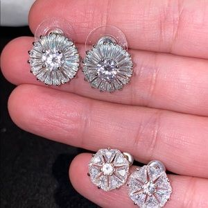 2 Pair Sparkly CZ Earrings + 2 Pairs Free